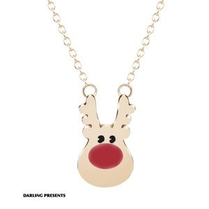 GOLD RUDOLPH RED NOSE REINDEER NECKLACE